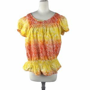 Izod Peasant Boho Top, Size XL, Orange/Yellow
